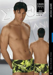 Eros Veneziani Printed Square Cut Trunk Swimwear 6866