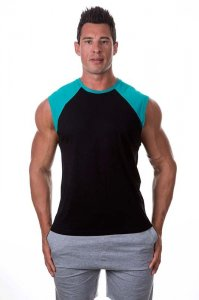 Bloke Undees Contrast Shoulder Muscle Top T Shirt Black SRC-...