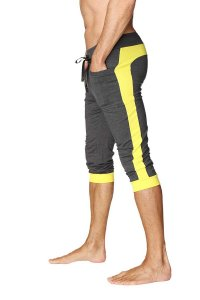 4-rth Cuffed Yoga 3/4 Pants Charcoal/Yellow
