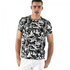 Roberto Lucca Slim Fit Camo Short Sleeved T Shirt Black/White 90218-11020
