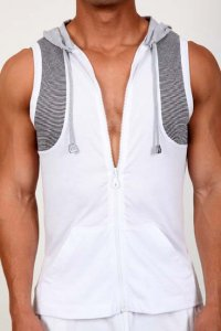 Pistol Pete Traction Sleeveless Hoody Muscle Top T Shirt White MT195-837