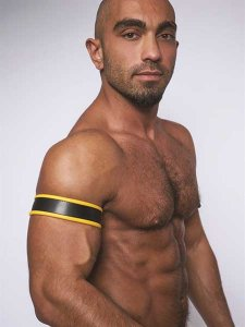 Mister B Leather Biceps Armbands Black/Yellow 431403