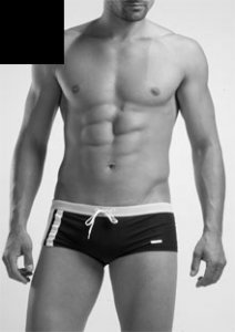 Geronimo Low Rise Square Cut Trunk Swimwear Black 1222B2