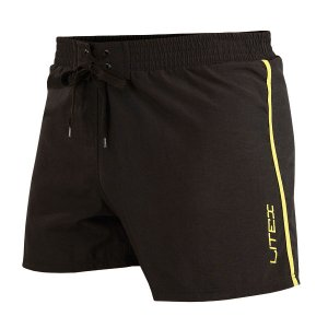 Litex Side Stripe Mesh Lined Shorts Swimwear Black/Neon Yell...
