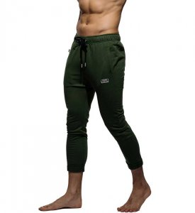 Private Structure Skinny Terry Carrot Casual Pants Army Green 99-MB-2044