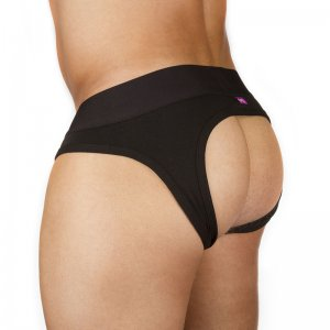 Ava-j Solid Jock Brief Jock Strap Underwear Jet Black