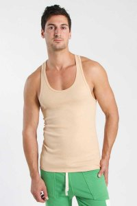 4-rth Racer Back Yoga Tank Top T Shirt Sand