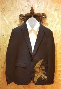 Spy Henry Lau Bird Embroidered Tailored Jacket Black/Gold PH...