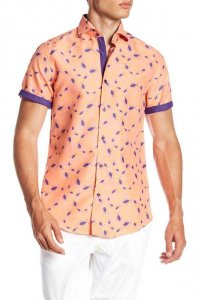 Suslo Couture Bugs Button Down Short Sleeved Shirt SC40148