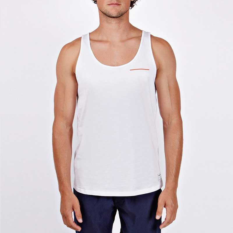 Mosmann Solid Tank Top T Shirt White MTT015