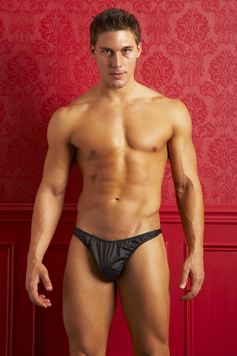 Allure Men's Underwear Rubber Look Vinyl Thong 24-4001