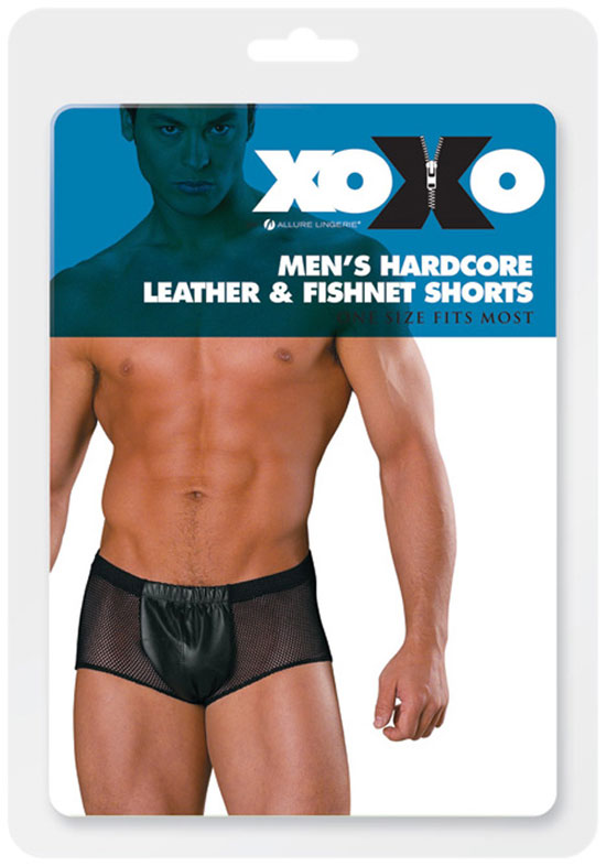 Allure Men's Underwear Hardcore Leather & Fishnet Shorts 33-800XO