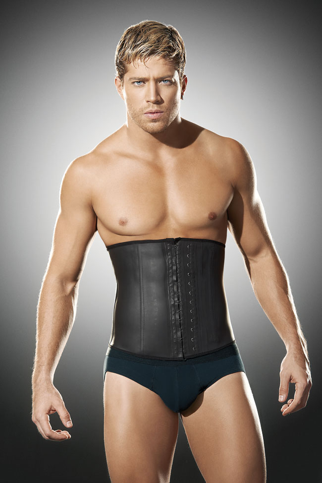 Ann Chery Latex Men's Girdle Waist Cincher Body Shaper Black 2031
