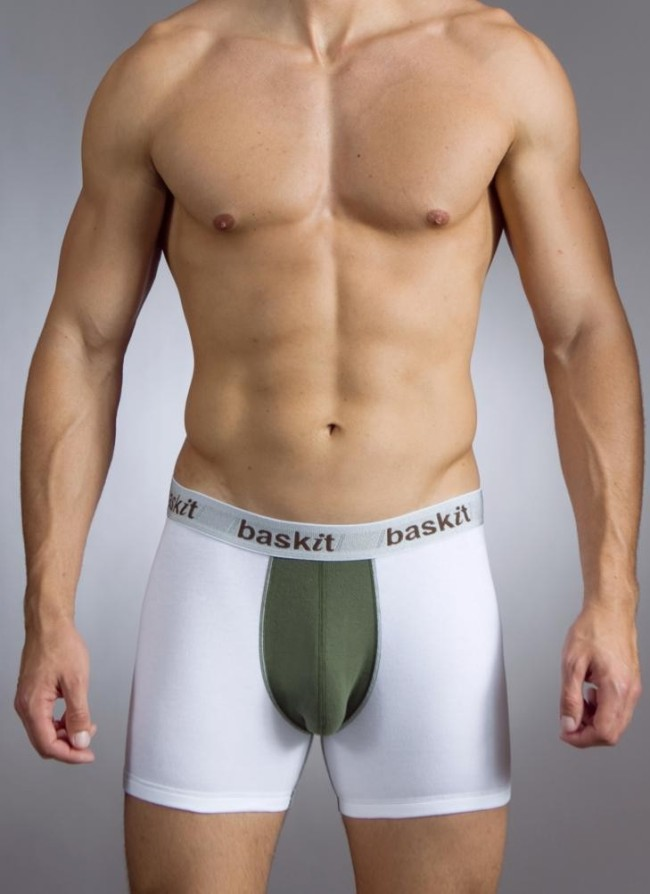 Baskit Action Cool Cotton Mesh Boxer Brief Bronze Green Underwear M4500