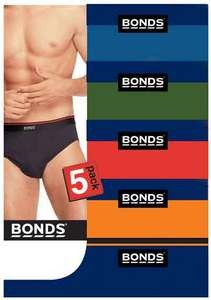 [5 Pack] Bonds Elastic Waist Brief Underwear Assorted