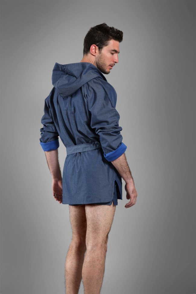 90c793b2ce Buns Jeans Reversible Bathing Wrap 3 4 Cap Bathrobes Dark Blue  13-BQ-4-TRC-32