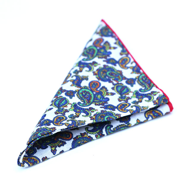 Charles Owo Linen Pocket Square Handkerchief Crimson/Royal Blue/Green 1553810