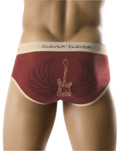 Clever Flying Guitar Brief Maroon Underwear 0576 USA1