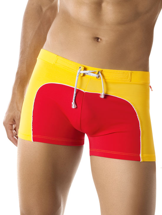 Clever Sporty Square Cut Red Swimwear 8001 USA1