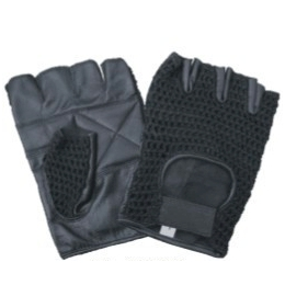 DBE Mesh Fingerless Leather Velcro Tab Gloves Black DBE3003