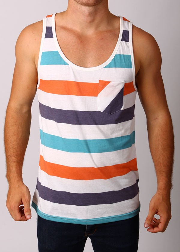 Deacon On Your Marks Stripe Tank Top T Shirt White