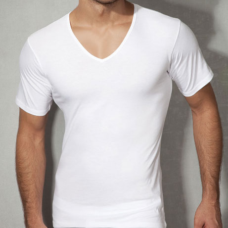 Doreanse V Neck Short Sleeved T Shirt White 2810