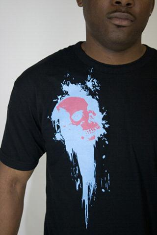 e.5.Charlie 1986 Skull Custom Printed T Shirt Black