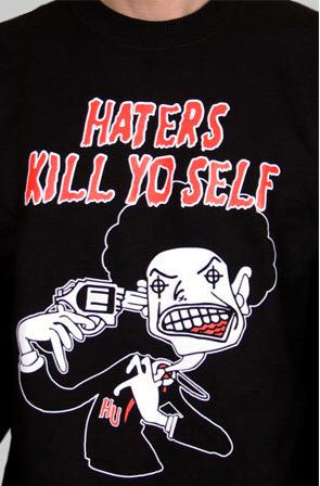 e.5.Charlie Haters Crew Neck Custom Printed T Shirt Black