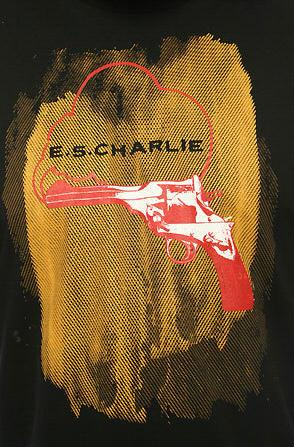 e.5.Charlie Smoking Gun Custom Printed T Shirt Black