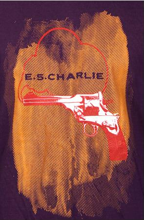 e.5.Charlie Smoking Gun Custom Printed T Shirt Eggplant