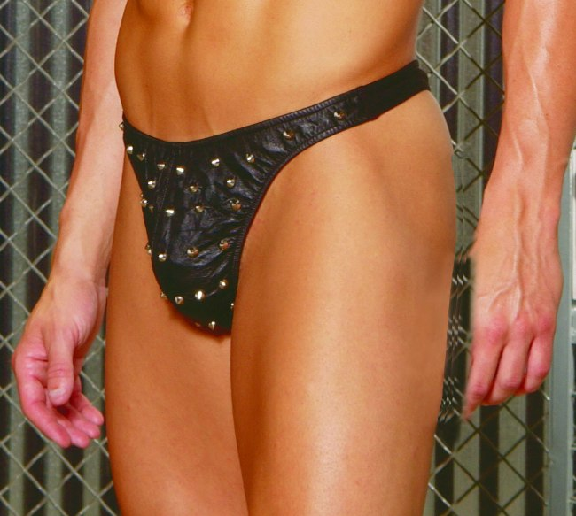 Elegant Moments  L9142 Leather Thong Underwear Black
