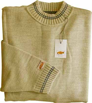 Elle Creazioni Round Neck Striped Fabric Sweater Sand/Jeans