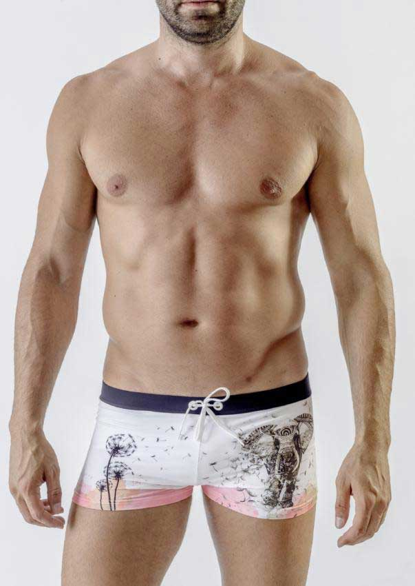 dcbb7a2cf1 Geronimo Elephant Square Cut Trunk Swimwear White 1704B1 [1704B1 ...