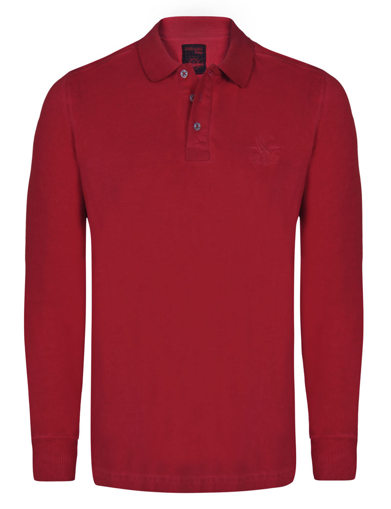 Giorgio Di Mare Polo Long Sleeved Shirt Light Red Gi1572130
