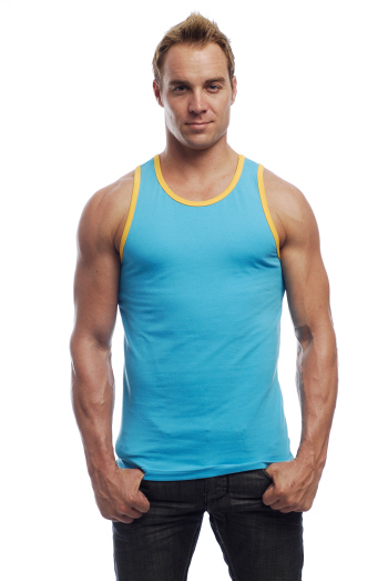 Go Softwear California Colors Cotton Lycra Tank Top T Shirt Turquoise/Yellow 2005