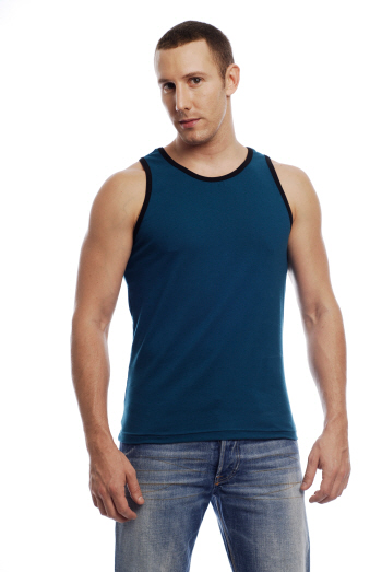Go Softwear California Colors Cotton Lycra Tank Top T Shirt Teal/Black 2005