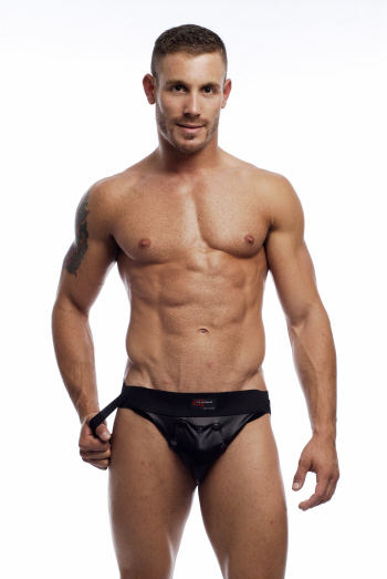 Go Softwear Snap Front Pleather Jock Underwear Black 2309