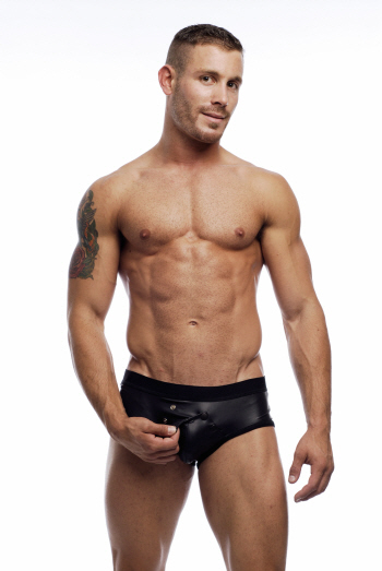 Go Softwear Snap Front Pleather Brief Underwear Black 2311