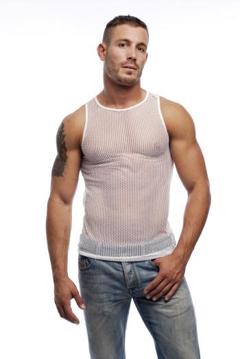 Go Softwear Euro Mesh Tank Top T Shirt White 3725
