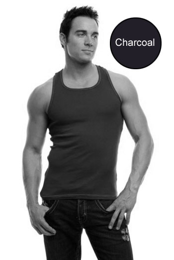 Go Softwear Racer Back Tank Top T Shirt Charcoal 4605