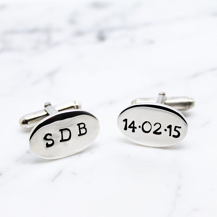 Hilary & June Personalised Sterling Silver Oval Cufflinks