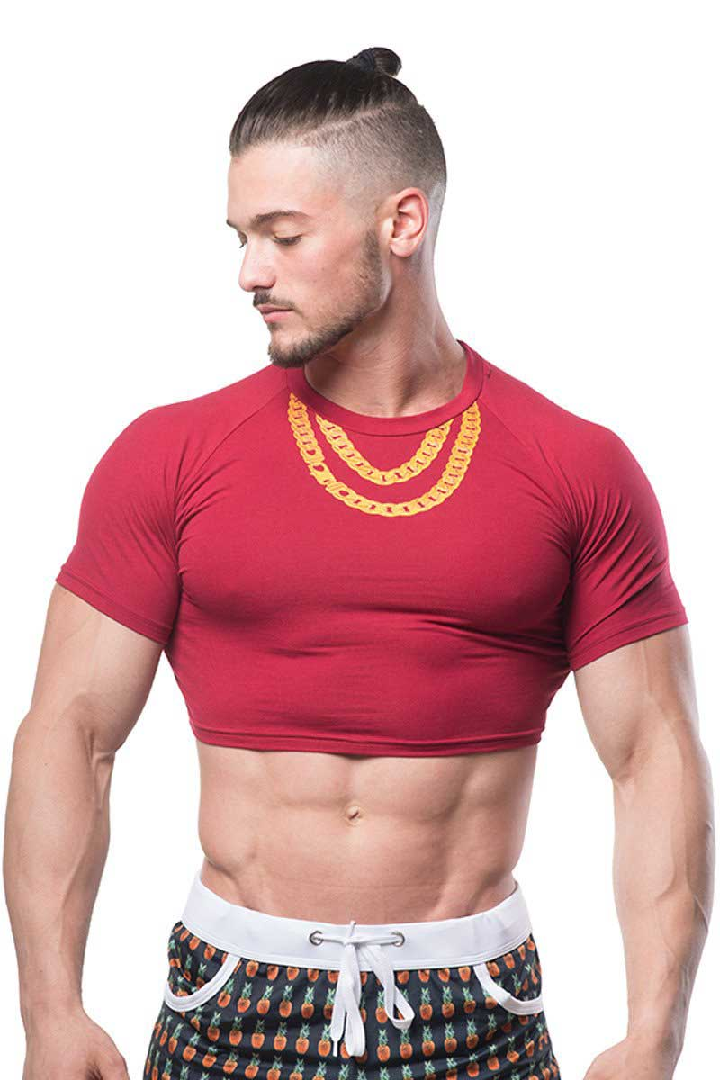 d9ba8e43fa2ab2 JJ Malibu Fun Cropped Fitness Slim Fit Crop Top Short Sleeved T Shirt  Necklace JJTOP010