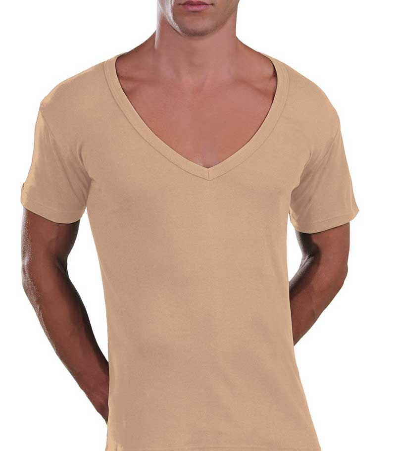 Lord Too Open Deep V Neck Short Sleeved T Shirt Beige 1231