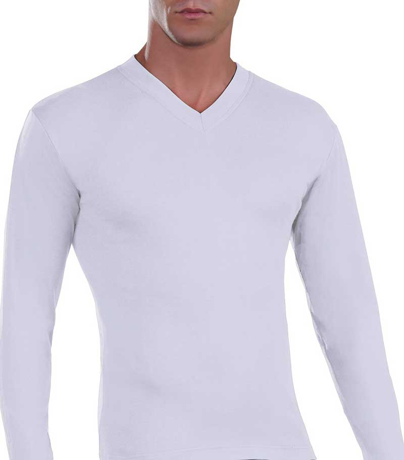 Lord V Neck Long Sleeved T Shirt White 187