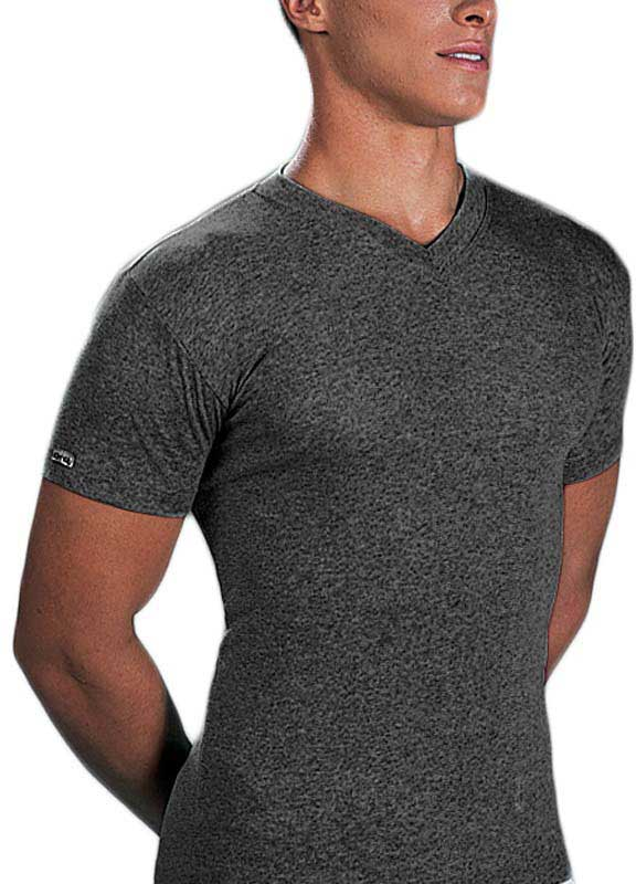 Lord Melange V Neck Short Sleeved T Shirt Charcoal 234