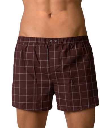 Lord Popline Checker Boxer Shorts Brown Underwear 7110BROWN
