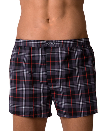 Lord Popline Checker Boxer Shorts Grey Underwear 7110GREY