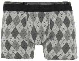 Lupo Argyle Cotton & Elastane Boxer Brief Underwear Grey 625-2