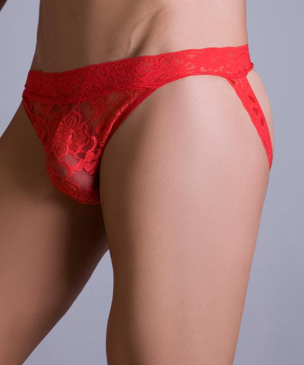 MaleBasics Lace Jockstrap Underwear Red MBL12