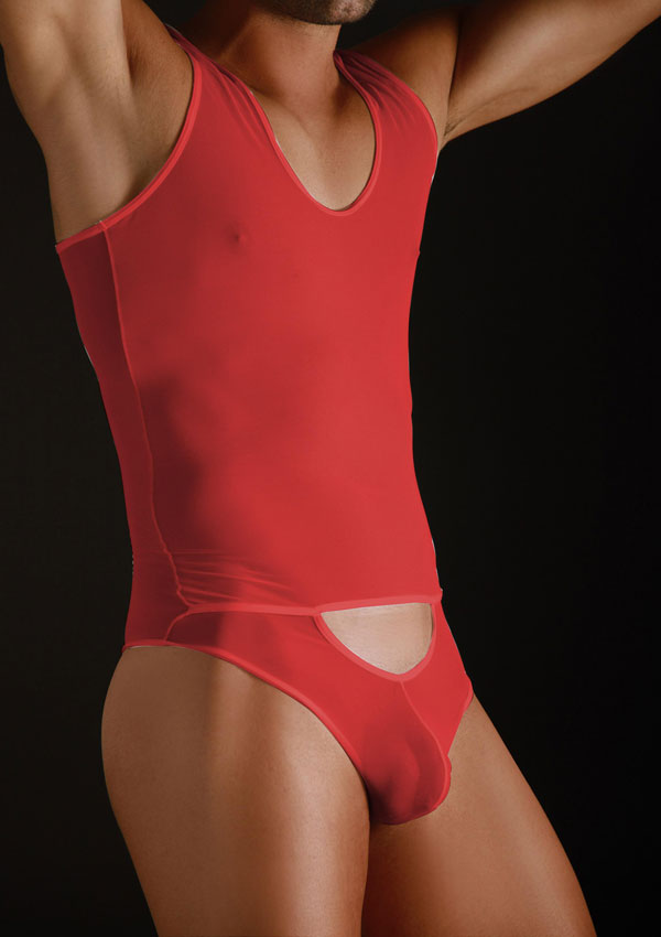 MaleBasics Sheer Bodysuit with Cutout Pouch Red MBL09